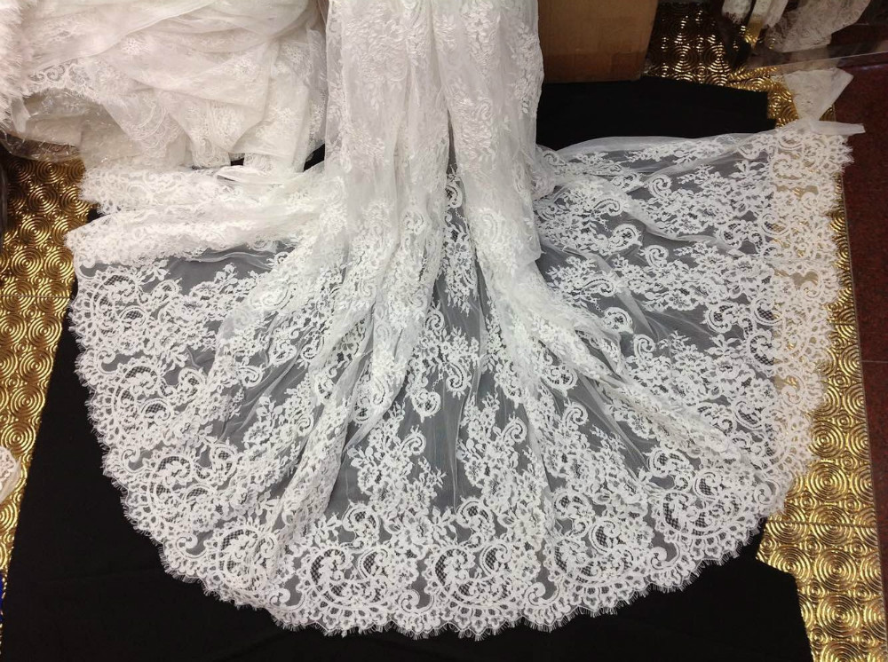 Buy embroidery corded chantilly lace for Wedding dress lace fabric