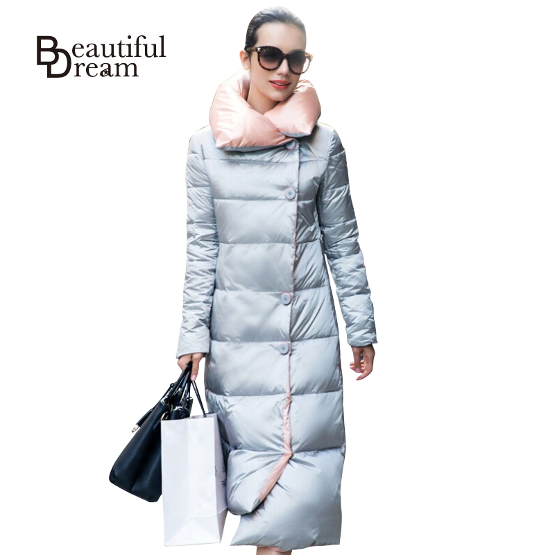 Long Down Parkas 2016 Winter Jacket Women White Duck Down Warm Coat Plus Size XXL Overcoat Jackets And Coats Solid Outerwear
