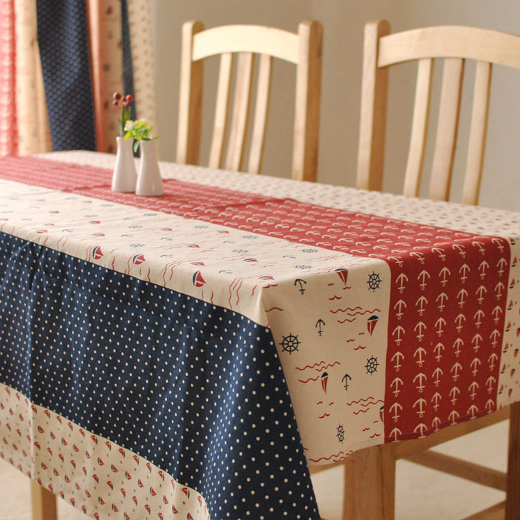 A linen cloth Mediterranean table cloth factory direct sales table cover(China (Mainland))
