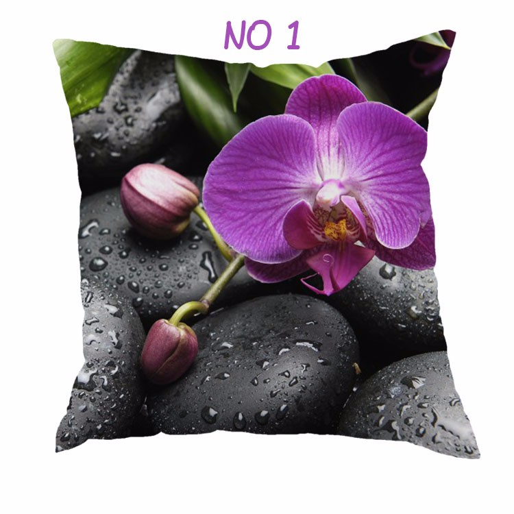 Purple Flower Pattern Printed Throw Pillow Case Decorative Nordic Design Pillow Case For Home