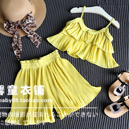2016 New Summer Children Girls Chiffon Clothing Set Sling Tops Pleated Pants Skirt Kids Girls Clothes Suits(China (Mainland))