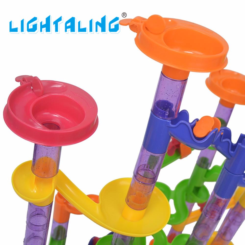 DIY Building Marble Run Mind Tracks Recreation Maze Balls 105pcs Puzzle Academic Kids Children Present Toys Lightaling