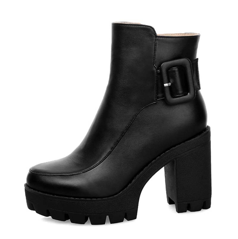 Ankle Fashion motorcycle boots Round Toe Square heel High Shoes PU Buckle Round Toe Winter Boots For women Martin boots<br><br>Aliexpress
