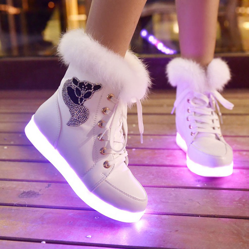 2015 new 7 Colors LED luminous shoes Women winter boots USB charging light shoes colorful glowing leisure flat shoes #38<br><br>Aliexpress