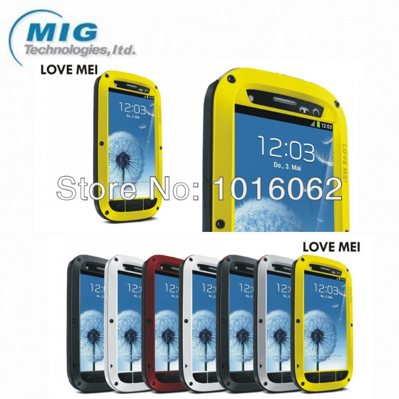 Free shipping 10pcs/lot Love Mei brand Tri defend Aluminum metal phone cover for Samsung galaxy S3 with retail packaging 6 color(China (Mainland))