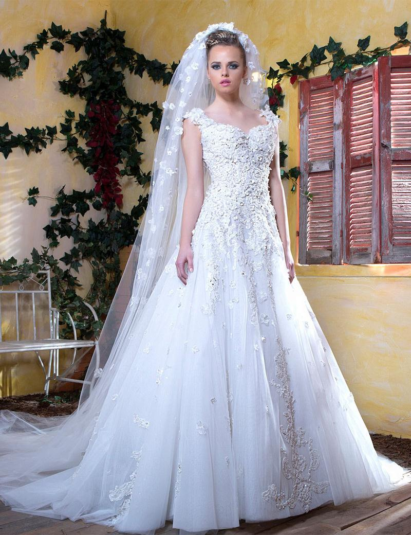 Lace Wedding Dresses 2016 A Line Sweetheart Elegant Flower