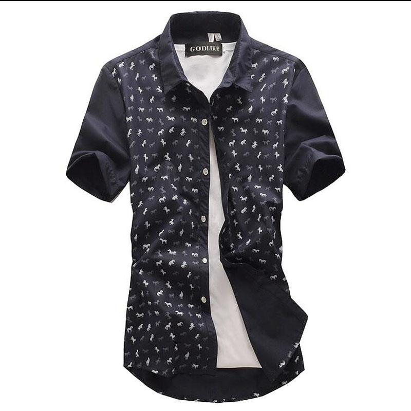 2016 New Men short Sleeve Shirt Luxury Stylish Mens Printing Slim Fit Shirt Casual Shirts Mens Dress Shirts(China (Mainland))