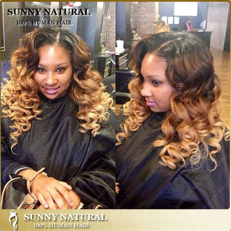 3 tone 1b/4/27 loose curly virgin Malaysian hair full lace wig with ombre middle part lace front wigs for african american(China (Mainland))