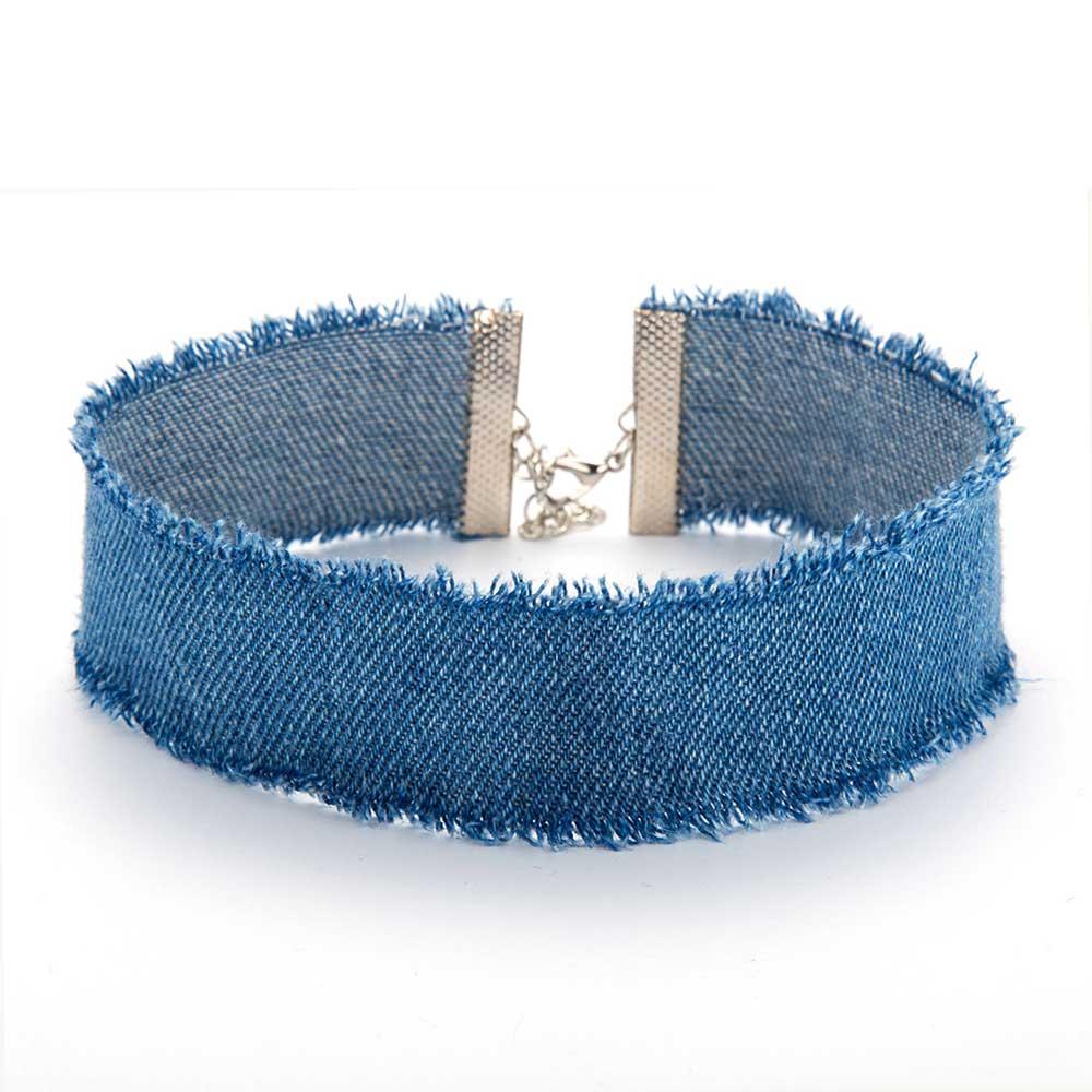 Choker tomtosh nuevo estilo ancho de mezclilla azul para las mujeres  vintage punk jeans gastados gargantillas