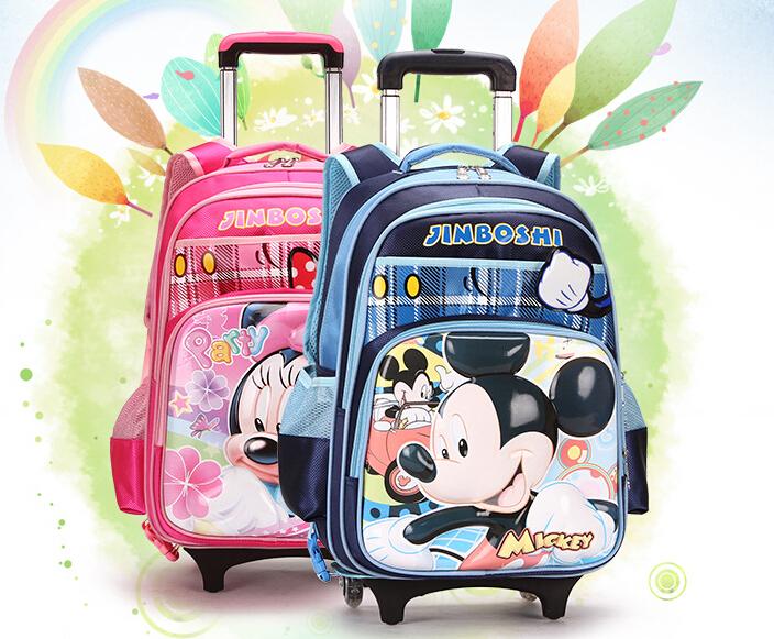 2015 Kids Trolley School Bag Children Cartoon Backpack Wheels Travel Bags