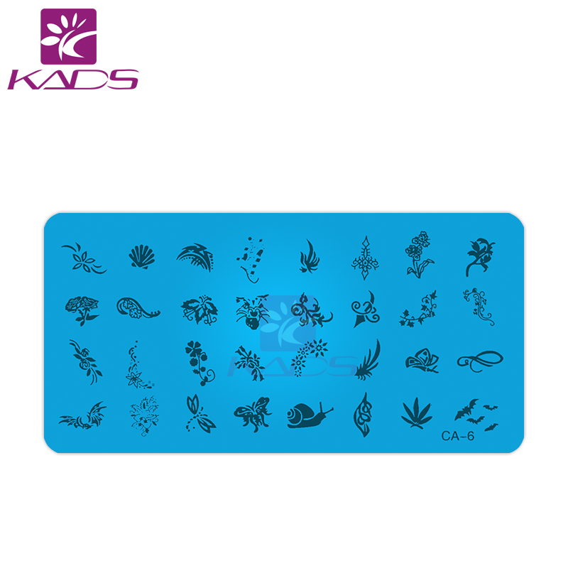 KADS CA6 snails & shell & bat nail stamp plate of stamps for nails animal on butterfly nail stamping plates for nail design(China (Mainland))