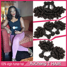 3 Bundles Top Quality Brazilian 7a Double Drawn Aunty Funmi Hair 100% Human Hair  Aunty Funmi Bouncy Curls Extension Hair #1B(China (Mainland))