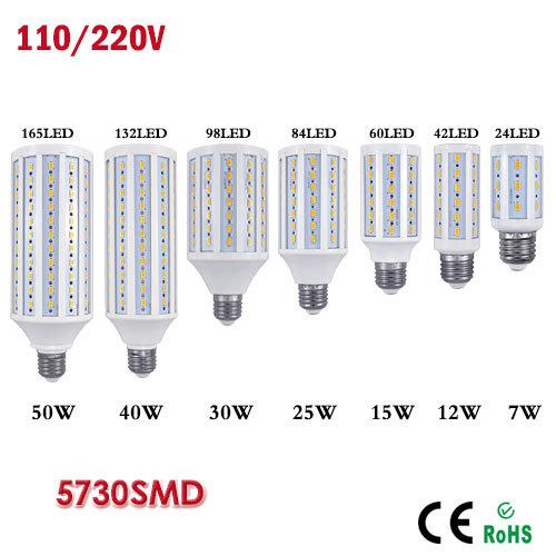 1Pcs 2016 New Update 7W 12W 15W 25W 30W 40W 50W E27 E14 5730 SMD LED Bulb light 220V Chandelier lighting LED Corn lamp Spotlight(China (Mainland))