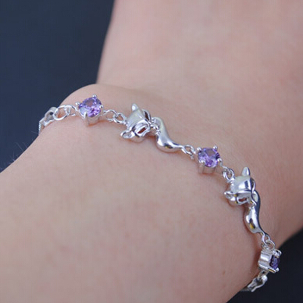 Free Shipping China Post Air Mail Hot sale 925 Sterling Silver jewelry Charm Fox White Purple Rhinestone bracelet for women(China (Mainland))