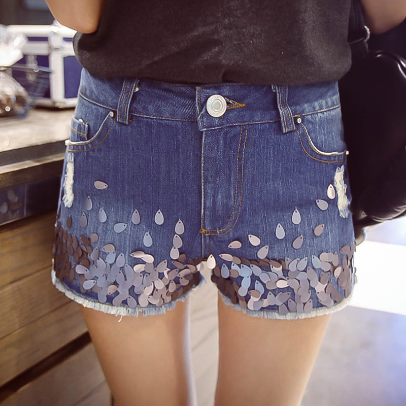 Free shipping summer new arrival 2015 paillette rough selvege sex denim shorts a4298(China (Mainland))