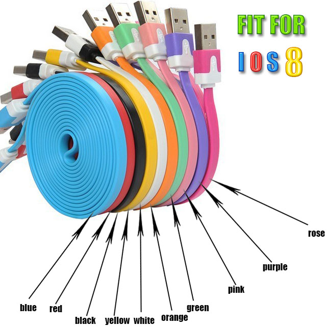 1M 2M 3M Good Quality Noodle Flat Colorful 2.0 USB Charging Sync Cord Data Cable for Iphone 5 5s 6 plus for IOS 7 8 9 for ipad(China (Mainland))