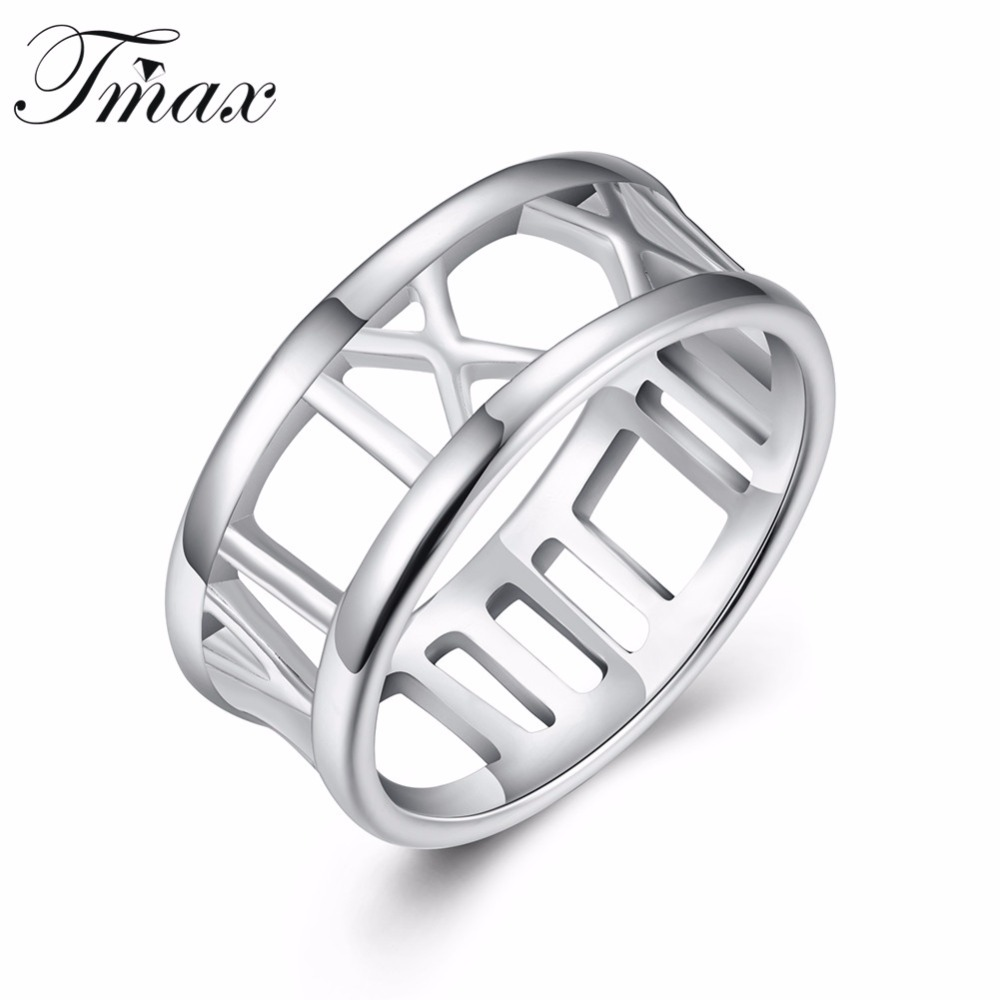 New Style Rings Silver Plated Trendy Hollow Roman Design Fashion Jewelry Accessories Engagement