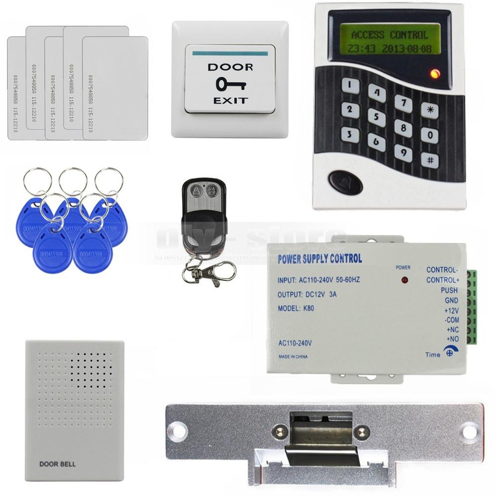 125KHz RFID Reader Password Keypad Door Access Control System Kit + Strike Lock + Door Bell B100(China (Mainland))