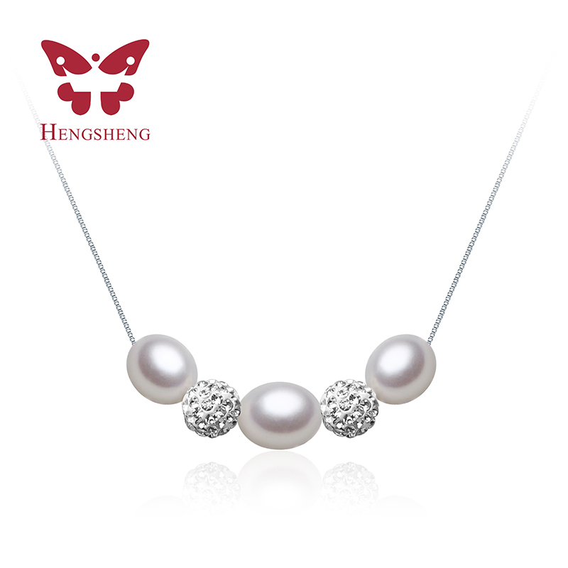 Romantic Three 8-9 mm Natural Pearl Color Pendant & Necklace Chain Fashion Jewellery Water Drop Pearl Pendant Gift(China (Mainland))