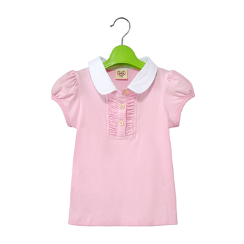 2015 Summer New Fashion cotton t shirt for child girl with turn-down collar and short sleeve white and pink shirt Retail