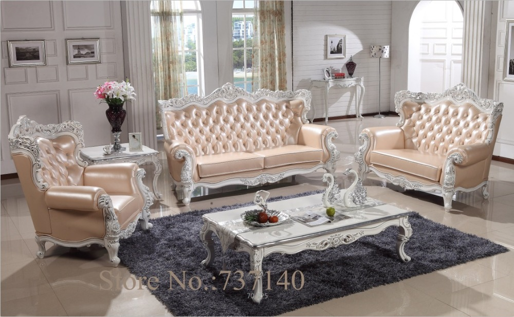 Sofa set living room furniture wood and genuine leather for Wholesale living room furniture sets