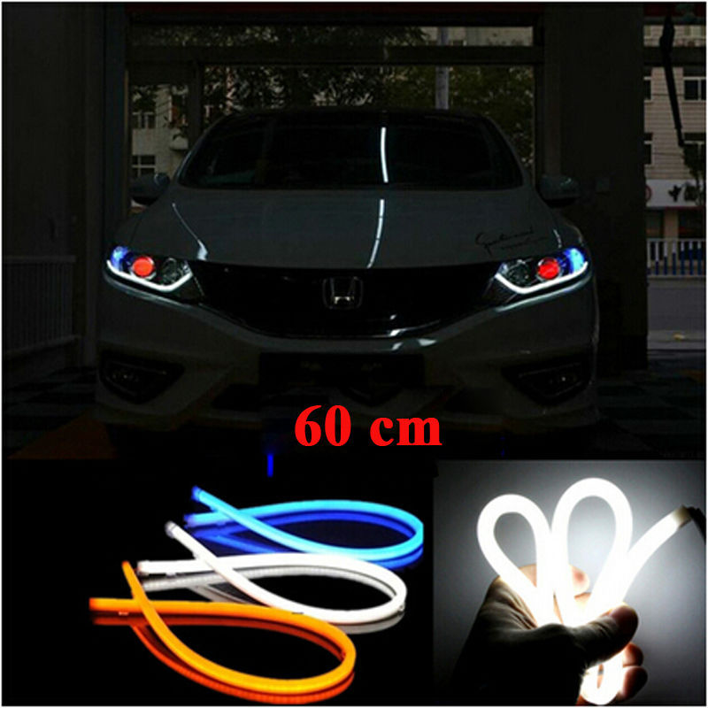 car styling 60cm White Red blue yellow green LED Flexible Tube Style Headlight Headlamp Strip Angel Eye DRL Decorative Light(China (Mainland))