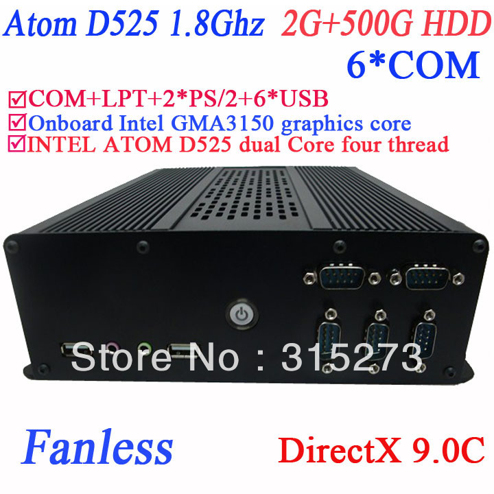 fanless mini computer windows or linux with DirectX 9.0C 6 COM Intel D525 1.8Ghz GMA3150 graphics nm10 LPT 6 USB 2G RAM 500G HDD(China (Mainland))