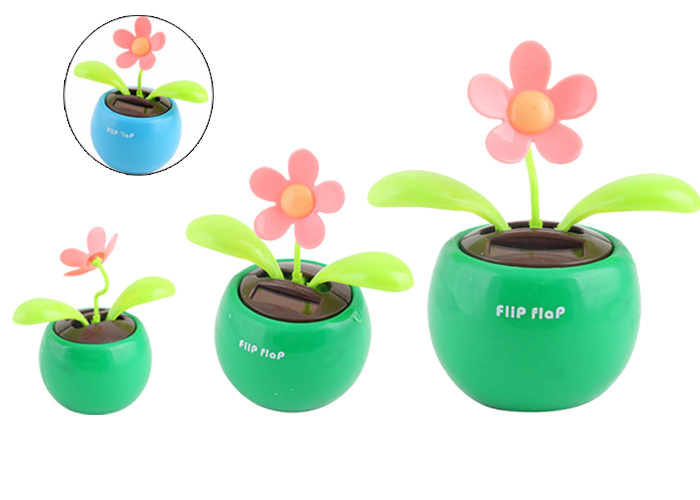 1Pcs/lot Solar Powered Flip Flap Flower Cool Car Dancing Toy #5461(China (Mainland))