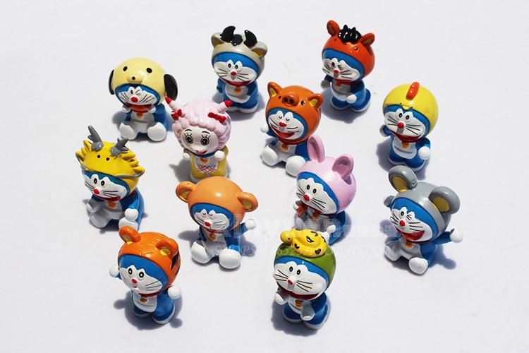 Free shipping 5sets(12pcs/set) 4-5cm Japan Anime doraemon cartoon PVC Action Figures toy twelve Chinese zodiac signs figure toys(China (Mainland))