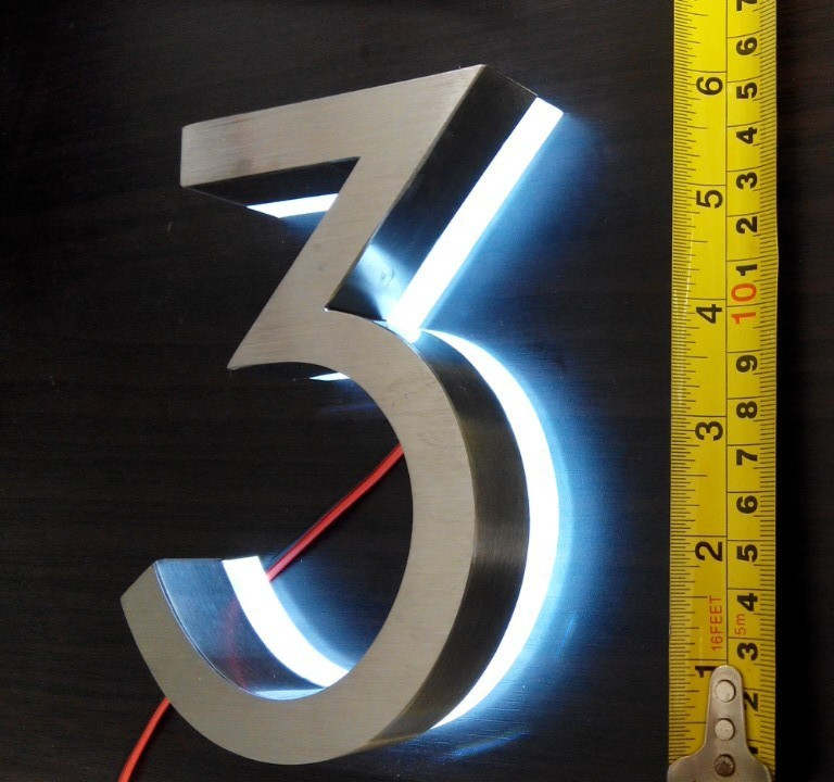 number two LED House Numbers  size H100MM white LED white LED