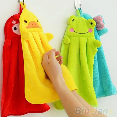 Nursery Hand Towel Soft Plush Fabric Cartoon Animal Hanging Wipe Bathing Towel 1QDU 2P6T(China (Mainland))