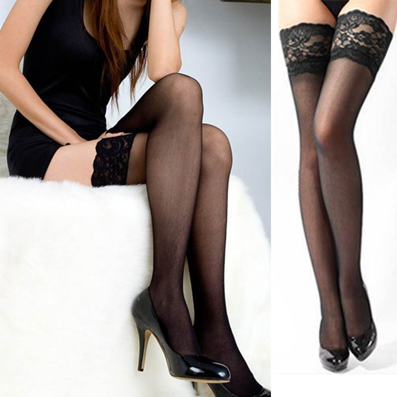New Sexy Women Ladies Girl Ultrathin Lace Top Sheer Thigh High Silk Stockings