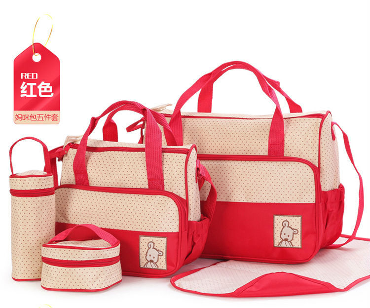 5 Pies Suit Mummy Bag Bottle Storage Multifunctional Waterproof Separate Bag Nappy Maternity Handbag Baby Tote Diaper Organizer(China (Mainland))
