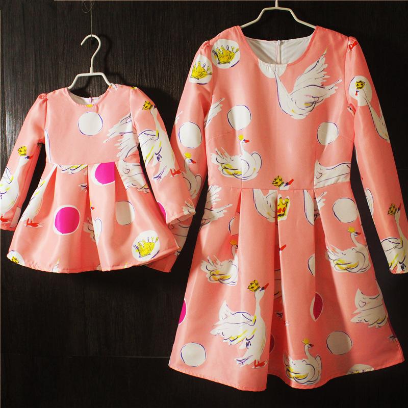2016 spring fashion long-sleeved animal print mom/girls clothes princess dress mommy me mae daughter mae e filha roupa dress<br><br>Aliexpress
