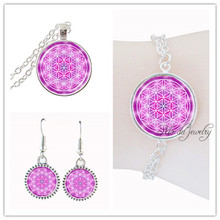 Buy Pink flower life necklace women jewelry set silver chain mandala flower necklace set glass dome om yoga pendant gift pulseras for $10.97 in AliExpress store