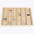 LAN LIN 24 girds jewelry display tray yellow linen display tray necklace Display Show Case earring