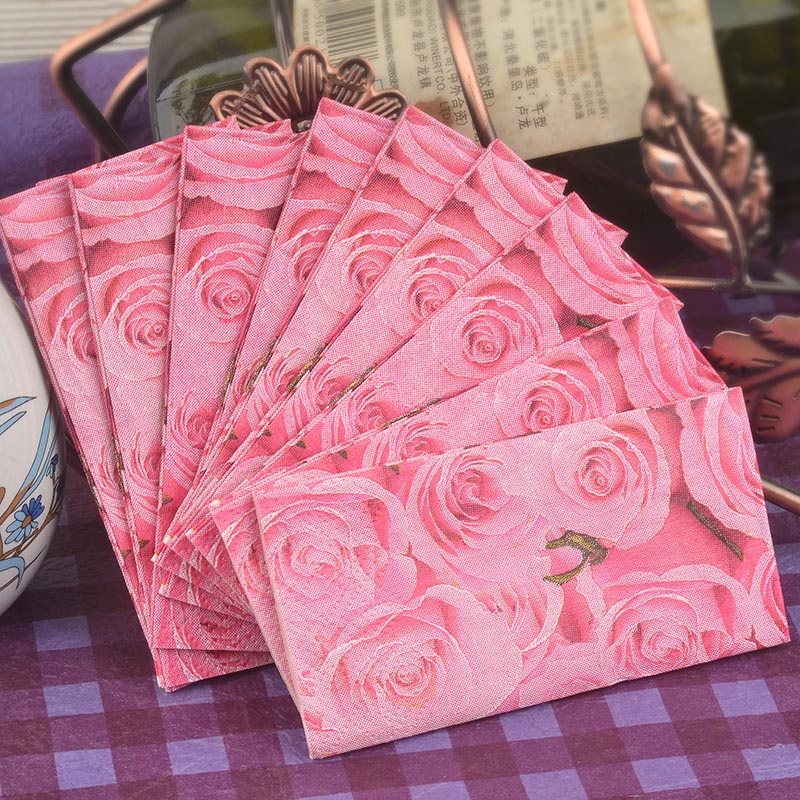 New design Creative gifts small napkin paper toilet tissue printed pink rose handkerchief wedding serviette birthday party mats(China (Mainland))