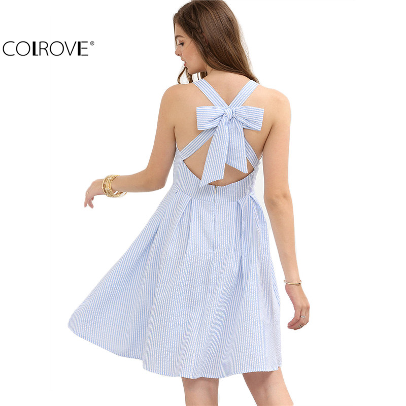 COLROVE Blue and Striped Criss Cross Bow Hollow Out Sleeveless A Line Short Dress Women Summer Cute Tank Dress(China (Mainland))