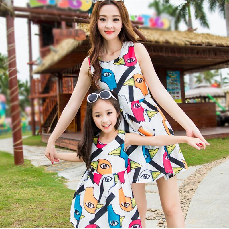 2016 summer dress colorful duck pattern mom and daughter dress family look girl and mother women fashion sleeveless dresses