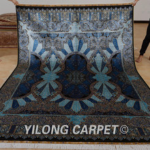 Yilong 6.56'x9.84' hand made turkish silk rug dark blue kashmir silk carpets (0767)(China (Mainland))