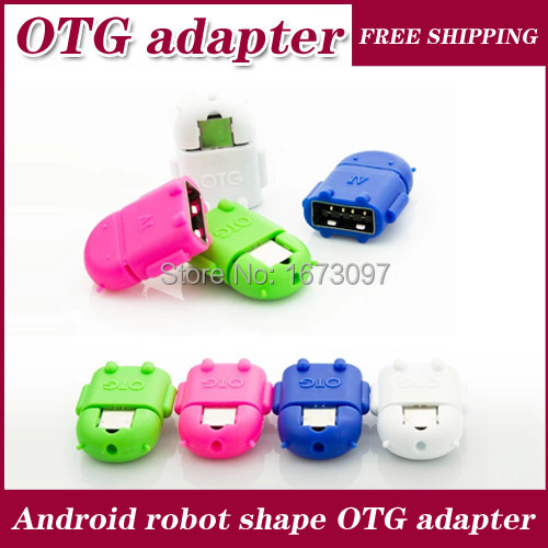 USB OTG Adapter Mini Multi color Robot Shape Android Micro Converter For Samsung Galaxy S4 S5 And other mobile phones(China (Mainland))