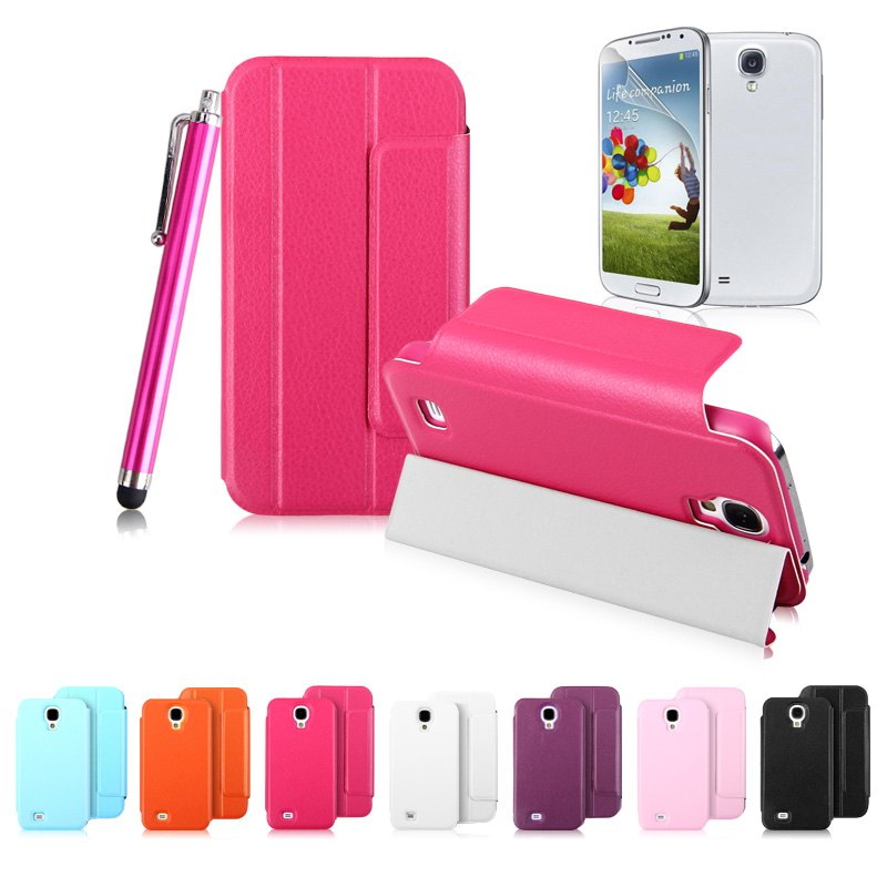 BIG DISCOUNT!!! PU Leather Protective Smartphone Case for Samsung Galaxy S4 mobile phone cover(China (Mainland))