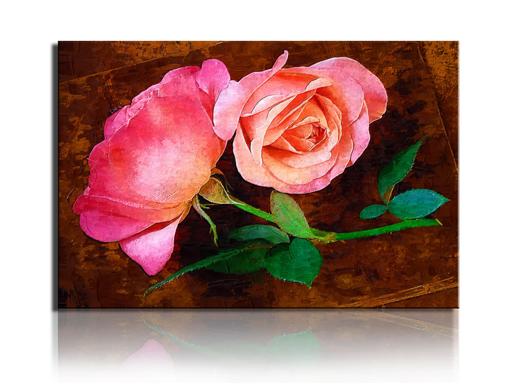 1 Pieces Free Shipping Popular HD Modern Wall Painting Green and Red Rose Flowers Home Wall Art Picture Print on Canvas unframed(China (Mainland))