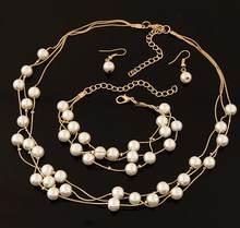 חיקוי פרל תכשיטי סט מדומה פנינה שכבה כפולה נשים עגילי שרשרת צמיד סטים לחתונה N271(China)