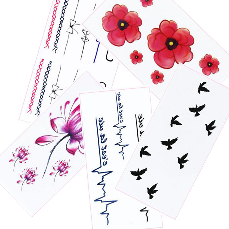 5PCS Cherry Blossom Swallow Lotus Rings Letter Design Fake Women Waterproof Body Arm Sleeves Art Temporary Tattoo Sticker Tips(China (Mainland))