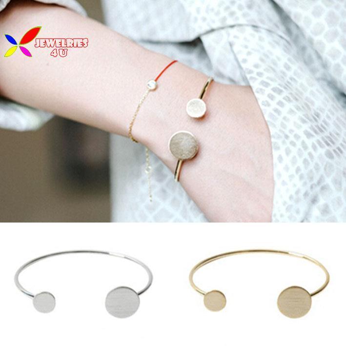 2015 fashion Rock & Roll designer gold silver black copper round cuff bangle club women's bracelet pulseiras de couro(China (Mainland))