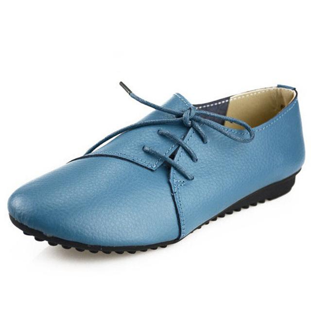 Новинка женщин обувь из натуральной кожи мода косой на шнурках ботинок квартир женщина ...