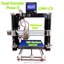 2015 High Precision He3D Dual Extruder 3D Printer kit diy Reprap Prusa I3 Double Heads Two-color Printing High Resolution LCD