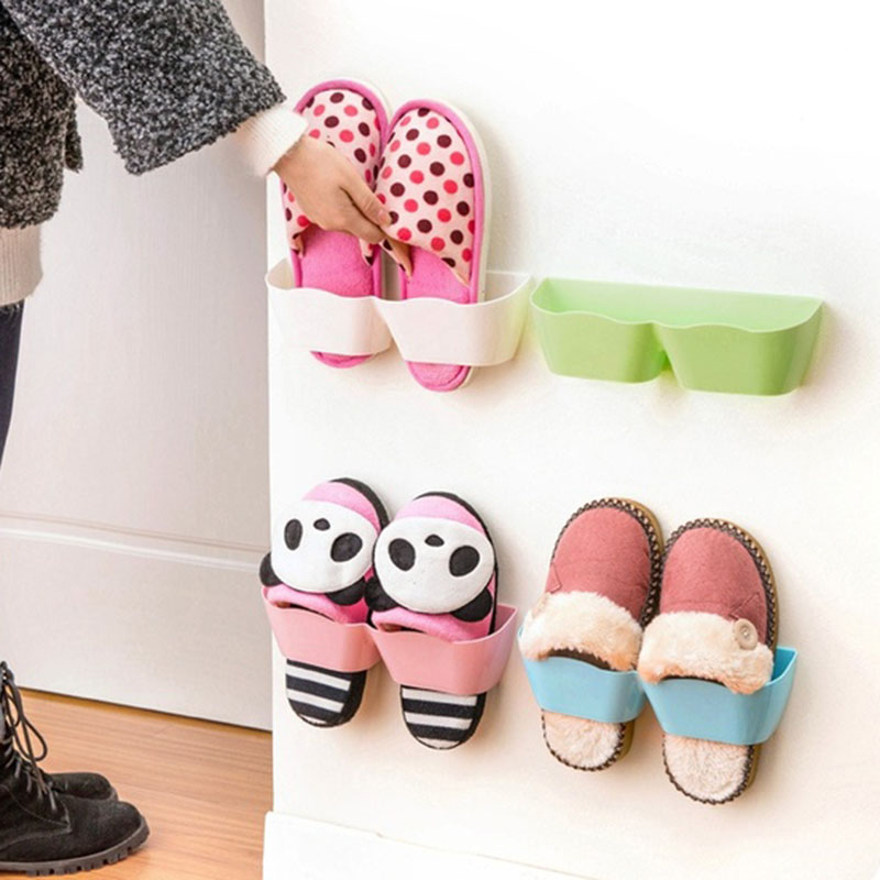1pc Living Room Bathroom storage shelf suction wall shoes rack candy color shoes shelf Creative Shoes Stands Hot(China (Mainland))