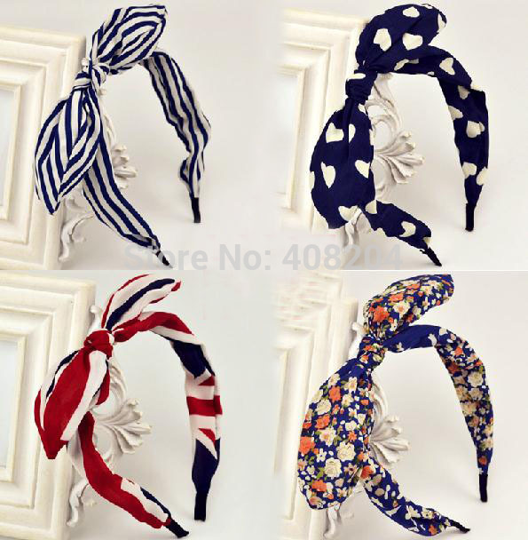 Fabric Floral Bunny Ears Headband Hair accessory many color , you can mix color or pick color to mix(China (Mainland))